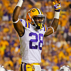 October 13, 2012; Baton Rouge, LA, USA;  LSU Tigers cornerback Jalen Mills (28) during a  game against the South Carolina Gamecocks at Tiger Stadium. LSU defeated South Carolina 23-21. Mandatory Credit: Derick E. Hingle-US PRESSWIRE