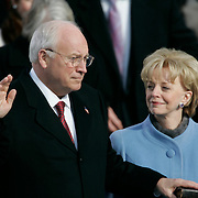 Presidential Inauguration 2005- GEORGE W. BUSH.Washington, DC.01/20/2005.West Front - US Capitol.Vice President Dick Cheney is sworn in.  His wife Lynne is at his side...Photo by Khue Bui..