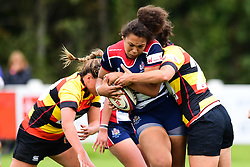 Rownita Marston of Bristol Ladies is tackled by Jade Wong of Richmond ladies and Alicia McCormish - Mandatory by-line: Craig Thomas/JMP - 17/09/2017 - Rugby - Cleve Rugby Ground  - Bristol, England - Bristol Ladies  v Richmond Ladies - Women's Premier 15s
