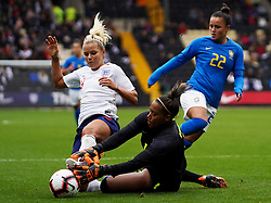 October 6, 2018 - Nottingham, England, United Kingdom - Nottingham England - October 06:.L-R Rachel Daly of England., Barbara and Camila of Brazil and Rachel Daly of England.during International Friendly between England Women and Brazil Women at Meadow Lane stadium , Notts County FC, Nottingham, England on 06 Oct 2018. (Credit Image: © Action Foto Sport/NurPhoto/ZUMA Press)