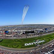 The Air Force Thunderbirds preform a fly over during the 60th Annual NASCAR Daytona 500 auto race at Daytona International Speedway on Sunday, February 18, 2018 in Daytona Beach, Florida.  (Alex Menendez via AP)