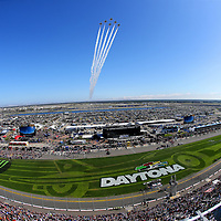 The Air Force Thunderbirds preform a fly over during the 60th Annual NASCAR Daytona 500 auto race at Daytona International Speedway on Sunday, February 18, 2018 in Daytona Beach, Florida.  (Alex Menendez via AP)