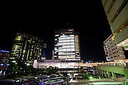 ******FOR MAGAZINE*******.Nissan Motor Co.'s headquarters are lit up at night in Yokohama, Japan on Monday 19 Oct.  2009. .Photographer: Robert Gilhooly/Bloomberg News