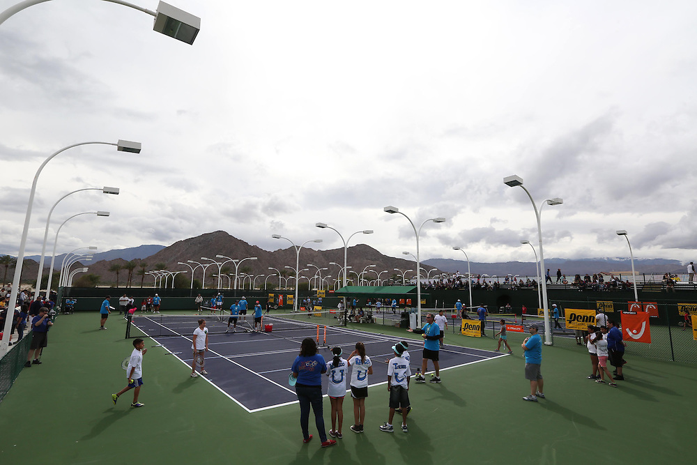 March 1, 2014, Palm Springs, California: <br /> Tennis clinics are held during Kids Day at the Indian Wells Tennis Garden sponsored by the Coachella Valley National Junior Tennis and Learning Network.<br /> (Photo by Billie Weiss/BNP Paribas Open)