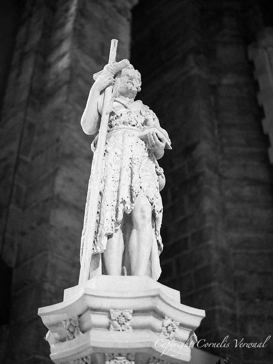 The Good Shepherd sculpture on the pulpit in the Cathedral of Saint John the Divine