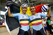 Men Madison, Robbie Ghys and Kenny De Ketele (Belgium) gold medal, flag, during the Track Cycling European Championships Glasgow 2018, at Sir Chris Hoy Velodrome, in Glasgow, Great Britain, Day 5, on August 6, 2018 - Photo luca Bettini / BettiniPhoto / ProSportsImages / DPPI<br /> - Restriction / Netherlands out, Belgium out, Spain out, Italy out -