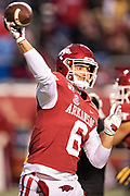 LITTLE ROCK, AR - NOVEMBER 29:  Ben Hicks #6 of the Arkansas Razorbacks throws a pass during a game against the Missouri Tigers at War Memorial Stadium on November 29, 2019 in Little Rock, Arkansas  The Tigers defeated the Razorbacks 24-14.  (Photo by Wesley Hitt/Getty Images) *** Local Caption *** Ben Hicks
