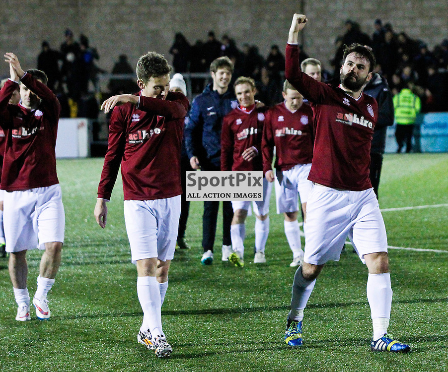 Thomas Coyne (right) celebrates at full time after Linlithgow Rose made history by becoming the first junior club to make the Scottish Cup 5th round<br /> (c) Andrew West | SportPix.org.uk
