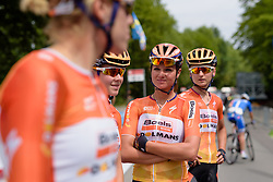 Chantal Blaak and her Boels Dolmans teammates wait in the sun for sign in at Thüringen Rundfarht 2016 - Stage 2 a 103km road race starting and finishing in Erfurt, Germany on 16th July 2016.