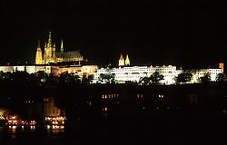 CZECH REPUBLIC BOHEMIA PRAGUE JUL97 -   The Prague Castle Hradcany is seen illuminated by light from across the Vltava river.. . jre/Photo by Jiri Rezac. . © Jiri Rezac 1997. . Tel:   +44 (0) 7050 110 417. Email: jiri@jirirezac.com. Web:   www.jirirezac.com