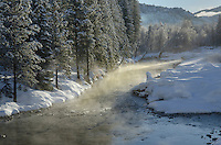 Methow River on a frosty winter morning nea Mazama Washington