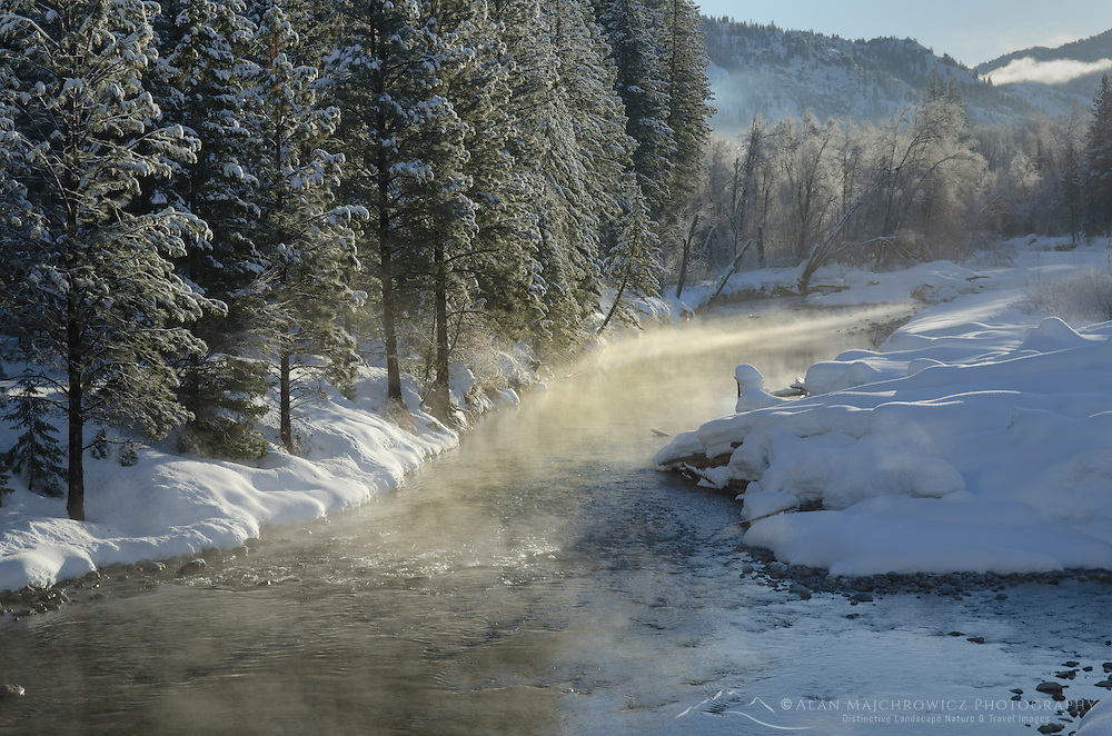 Methow River on a frosty winter morning nea Mazama Washington