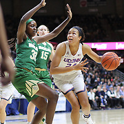 STORRS, CONNECTICUT- NOVEMBER 17: Napheesa Collier #24 of the UConn Huskies drives to the basket defended by Beatrice Mompremier #32 of the Baylor Bears<br /> during the UConn Huskies Vs Baylor Bears NCAA Women's Basketball game at Gampel Pavilion, on November 17th, 2016 in Storrs, Connecticut. (Photo by Tim Clayton/Corbis via Getty Images)