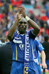 LONDON, ENGLAND - Saturday, May 17, 2008: Portsmouth's captain Sol Campbell celebrates after beating Cardiff City 1-0 during the FA Cup Final at Wembley Stadium. (Photo by Chris Ratcliffe/Propaganda)