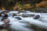 Water rushes through the rocks and rapids of the south fork of the Yuba River