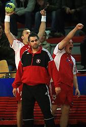 Coach of Slovan Boris Denic, Uros Bundalo (14) and Rok Bucuk (15)  at handball game RD Slovan vs RD Merkur  in 7th round of MIK First league, on October 24, 2008 in Ljubljana, Slovenia. (Photo by Vid Ponikvar / Sportal Images)