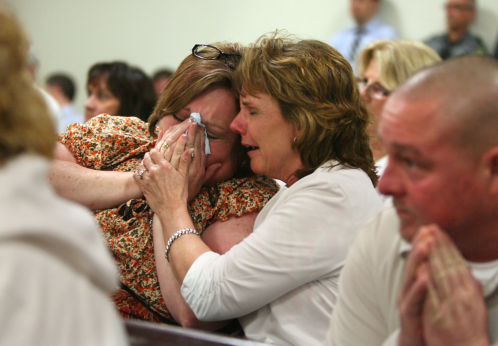 BRENDAN FITTERER   |   Times<br />Amy Hurst's daughter, Lisa Stewart, left, niece, Laura Shampine, and son, Jeff Earley, right, react as a guilty verdict is read in William Hurst's murder trial Thursday afternoon. More than 30 years after Amy Rose Hurst was killed and dumped in the Gulf of Mexico, a jury on Thursday convicted her husband of first-degree murder.<br />William Hurst, 61, will spend the rest of his life in a Florida prison.<br />Amy Rose Hurst, a 29-year-old mother of two, disappeared from her New Port Richey home in September 1982. A fishing boat crew found her body the next month several miles off the coast of Anna Maria Island. Her body, wrapped in an afghan and a green bedspread, was tied to a concrete block.