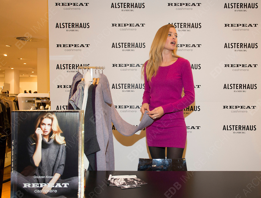 06.OCTOBER.2012. HAMBURG<br /> <br /> DOUTZEN KROES PRESENTS HER CASHMERE COLLECTION &quot;REPEAT BY DOUTZEN&quot; ET THE REPEAT STORE IN HAMBURG, GERMANY.<br /> <br /> BYLINE: EDBIMAGEARCHIVE.CO.UK<br /> <br /> *THIS IMAGE IS STRICTLY FOR UK NEWSPAPERS AND MAGAZINES ONLY*<br /> *FOR WORLD WIDE SALES AND WEB USE PLEASE CONTACT EDBIMAGEARCHIVE - 0208 954 5968*