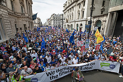 © Licensed to London News Pictures. 23/06/2018. London, UK. The People's Vote March for a second EU referendum passes along Pall Mall. Photo credit: Peter Macdiarmid/LNP