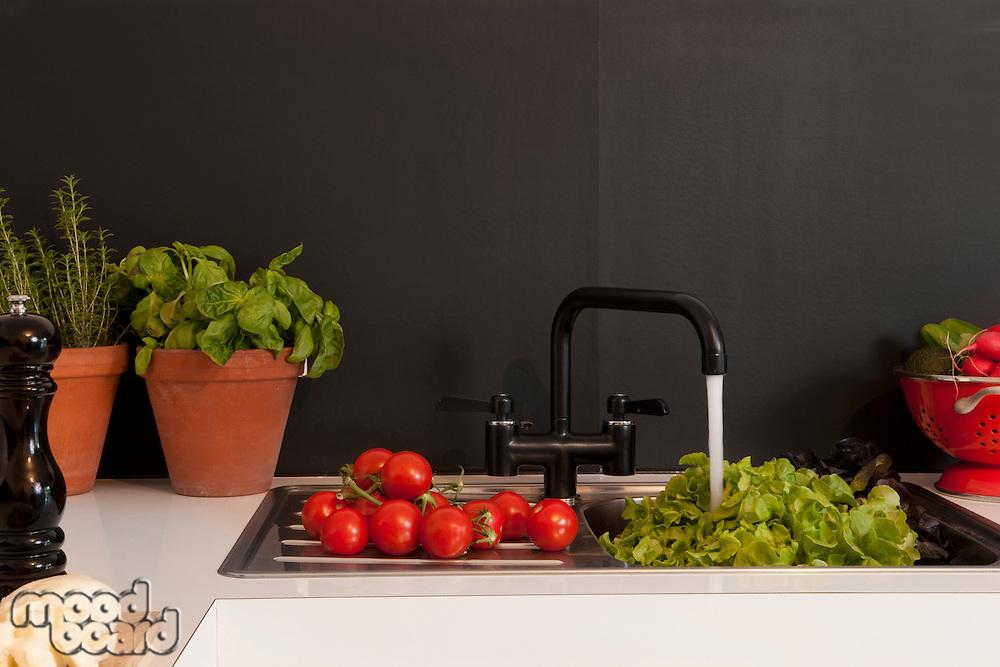 Fresh salad ingredients on kitchen sink