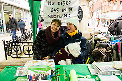 Pictured: Caroline Lucas met anti-fracking protester Janet Falconer and her Scottish Terrier Milly when she was in Falkirk.<br /> <br /> As part of her visit to Scotland to support Greens candidates in the Scottish election, Green MP Caroline Lucas joined Scottish Greens colleagues Maggie Chapman, Greens co-convener, Mark Ruskell, candidate for Mid Scotland and Fife, Kirsten Robb, candidate for Central Scotland and John Wilson, candidate for Central Scotland, to meet anti-fracking campaigners in Falkirk <br /> <br /> Ger Harley | EEm 29 April 2016