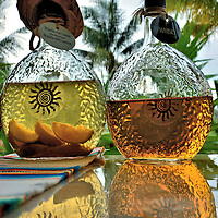 Tequila and Whiskey in Decanters at Riviera Maya, Mexico<br />