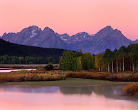Alpenglow over the Teton Range from the Oxbow Bend of the Snake River, Grand Teton NationalPark Wyoming USA