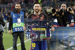 Lionel Messi of FC Barcelona honoured of 100 goals in UEFA Champions League during the UEFA Champions League quarter final match between FC Barcelona and AS Roma at the Camp Nou stadium on April 04, 2018 in Barcelona, Spain.