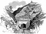 Baltimore and Ohio Railroad: Locomotive emerging from the 4100-ft Kingwood Tunnel through the Alleghany Mountains. From 'The Illustrated London News', May 1861. Wood engraving.