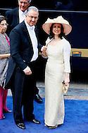 AMSTERDAM - De inhuldiging van Koning Willem Alexander. Met op de foto Ahmed Aboutaleb, burgemeester van Rotterdam, met partner. FOTO LEVIN DEN BOER - PERSFOTO.NU