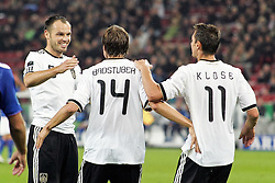 07.09.2010,  Rhein Energie Stadion, Koeln, GER, EM-Qualifikation, Deutschland vs. Aserbaidschan, im Bild: Heiko Westermann (Deutschland #5, Hamburg / Torschuetze 1:0), Holger Badstuber (Deutschland #14, Muenchen / Torschuetze 5:1) und Miroslav Klose (Deutschland #11, Muenchen / Torschuetze 3:0 ) jubeln nach dem 5:1  EXPA Pictures © 2010, PhotoCredit: EXPA/ nph/  Mueller+++++ ATTENTION - OUT OF GER +++++