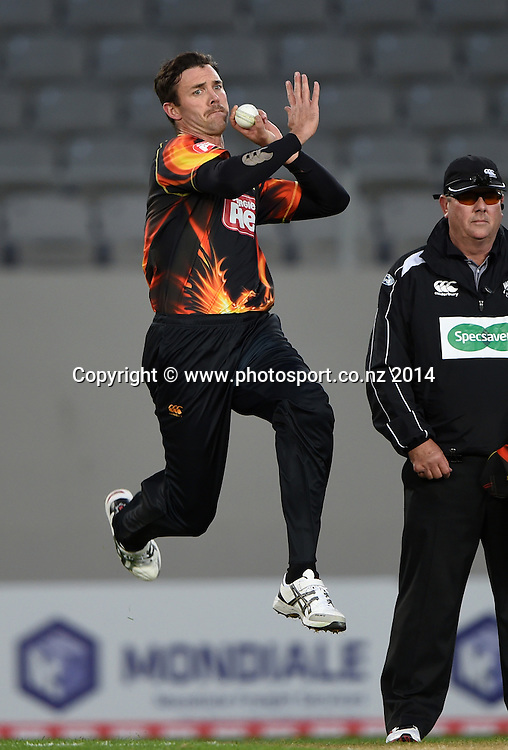 James Franklin bowling during the Georgie Pie Super Smash Twenty20 cricket match between the Auckland Aces and Wellington Firebirds at Eden Park, Auckland on Friday 14 November 2014. Photo: Andrew Cornaga / www.Photosport.co.nz