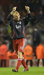 LIVERPOOL, ENGLAND - WEDNESDAY, SEPTEMBER 20th, 2006: Liverpool's Dirk Kuyt salutes the supporters after the Premiership match against Newcastle United at Anfield. (Pic by David Rawcliffe/Propaganda)