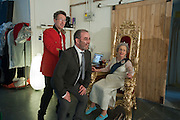 REGGIE, SLY; CORINNE AS THE QUEEN; , filming for Sly and Reggie ' Dub Save the Queen. Moorish Rd. London Sw2. 5 April 2012.