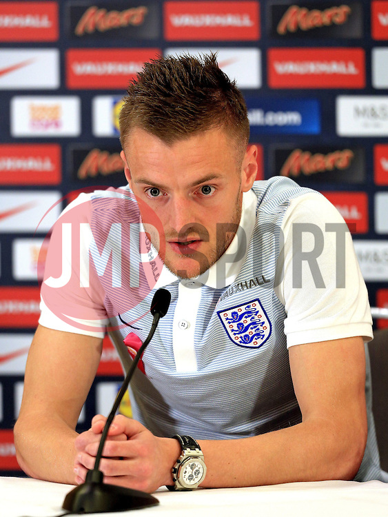 England's Jamie Vardy (Leicester City) speaks to the media - Mandatory byline: Matt McNulty/JMP - 22/03/2016 - FOOTBALL - St George's Park - Burton Upon Trent, England - Germany v England - International Friendly - England Training and Press Conference