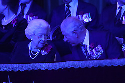 Queen Elizabeth II with the Prince of Wales, during the annual Royal British Legion Festival of Remembrance at the Royal Albert Hall in London, which commemorates and honours all those who have lost their lives in conflicts.