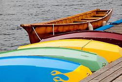 United States, Washington, Seattle. Wooden rowboats at dock waiting to be rented.