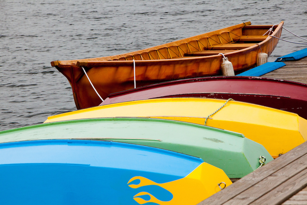 United States, Washington, Seattle. Wooden rowboats at dock waiting to be rented.