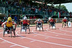 WALLENGREN Gunilla, MADSEN Cheri, JONES Jade, WOLF Edith, MCFADDEN Hannah, SWE, USA, GBR, SUI, 800m, T54, 2013 IPC Athletics World Championships, Lyon, France