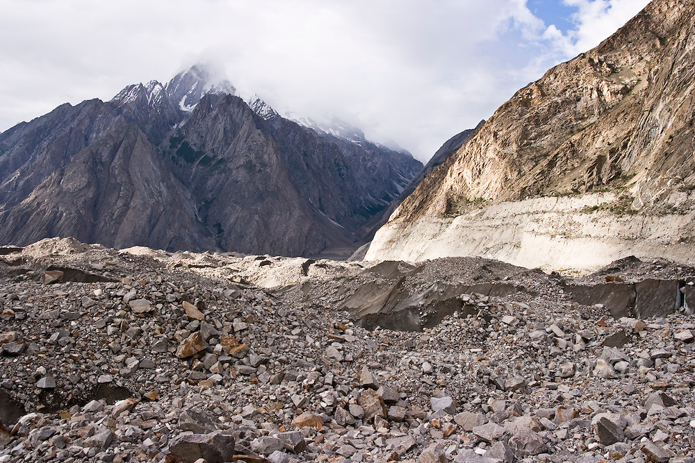 The lower part of the Biafo Glacier covered with rock debris