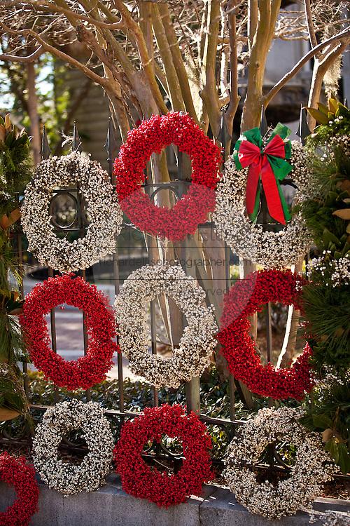 Gullah popcorn berry Christmas wreaths on sale in Charleston, SC.