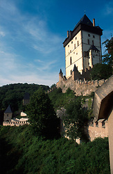 CZECH REPUBLIC BOHEMIA KARLSTEJN JUL96 - General view of Karlstejn castle. ..jre/Photo by Jiri Rezac. . © Jiri Rezac 1996. . Tel:   +44 (0) 7050 110 417. Email: jiri@jirirezac.com. Web:   www.jirirezac.com
