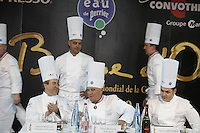 PAUL BOCUSE, Daniel Boulud, before the first tasting at the Bocuse d'Or..Owen Franken for the NY Times..January 27, 2009