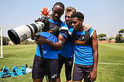 Forest Green Rovers Shamir Mullings(14) Forest Green Rovers goalkeeper Bradley Collins(1) and Forest Green Rovers Reece Brown(10) during the Forest Green Rovers Training session at Browns Sport and Leisure Club, Vilamoura, Portugal on 25 July 2017. Photo by Shane Healey.