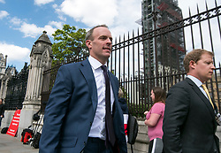 © Licensed to London News Pictures. 17/06/2019. London, UK. Conservative leadership candidate DOMINIC RAAB MP is seen at the Houses of Parliament in London. Boris Johnson has cemented his position as favourite to become the next Prime Minster after winning a landslide in the first round of the conservative party's leadership race. Photo credit: Ben Cawthra/LNP