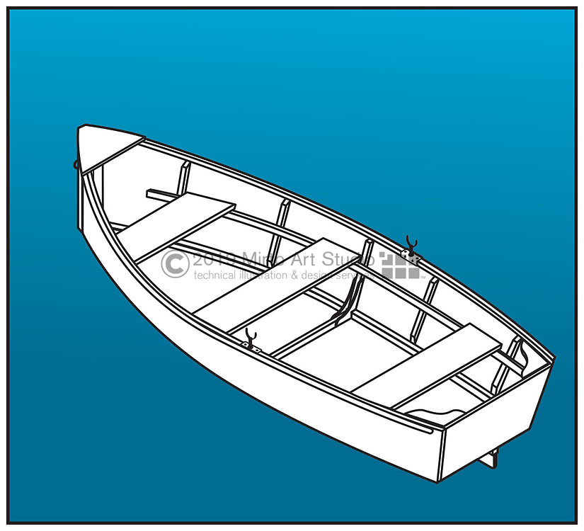 A vector artwork of a small rowboat or tender.