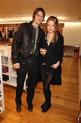 JESSE & TILLY WOOD he is the son of Rolling Stone Ronnie Wood at a party to celebrate the opening of the new Uniqlo store at 331 Oxford Street, London W1 on 6th November 2007.<br /><br />NON EXCLUSIVE - WORLD RIGHTS