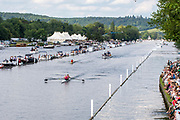 Henley on Thames, England, United Kingdom, Sunday, 07.07.19,G.E. Prendergast & K.L. Gowler New Zealand, NZL, (foreground) lead X. Lin & R. Ju China, CHN, passing the Enclosures, in the Final, of the Hambleden Pairs Challenge Cup, Henley Royal Regatta,  Henley Reach, [©Karon PHILLIPS/Intersport Images]<br /> <br /> 16:17:15 1919 - 2019, Royal Henley Peace Regatta Centenary,