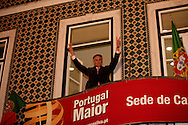 The candidate on a balcony in the city of Santarem, in the central Portugal.