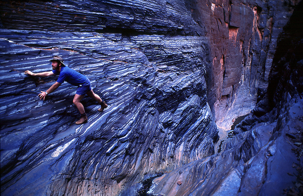 Stepped walls of Hancock Gorge, Karajini National Park. The Pilbara region of Western Australia.©David Dare Parker/Network Photographers